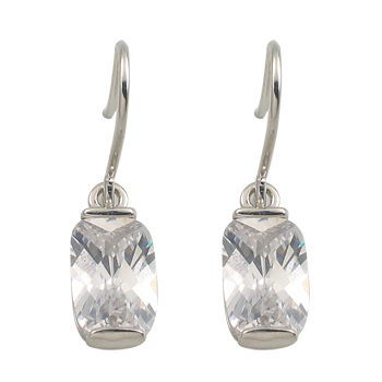 Earringsilver 925/000 rhodium platedCZ white 11x7 mm - 2 x