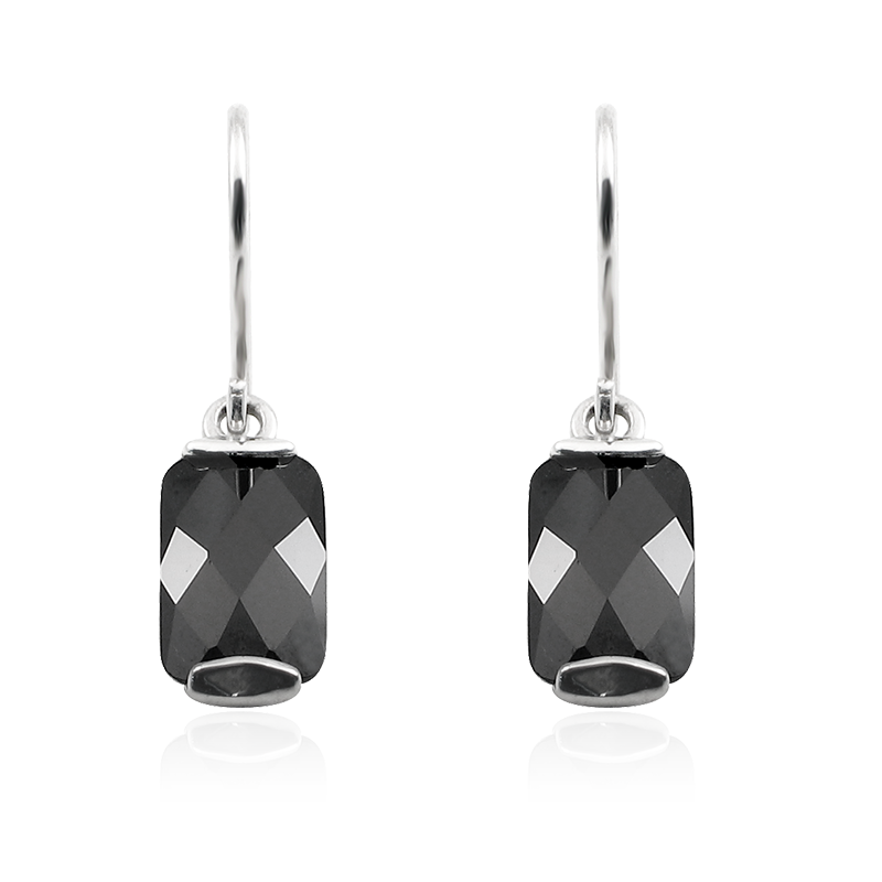 Earringsilver 925/000 rhodium platedCZ black 11x7 mm - 2 x