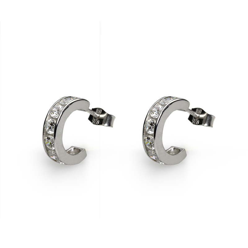 Earringsilver 925/000 rhodium platedCZ 3,25 mm - 16x