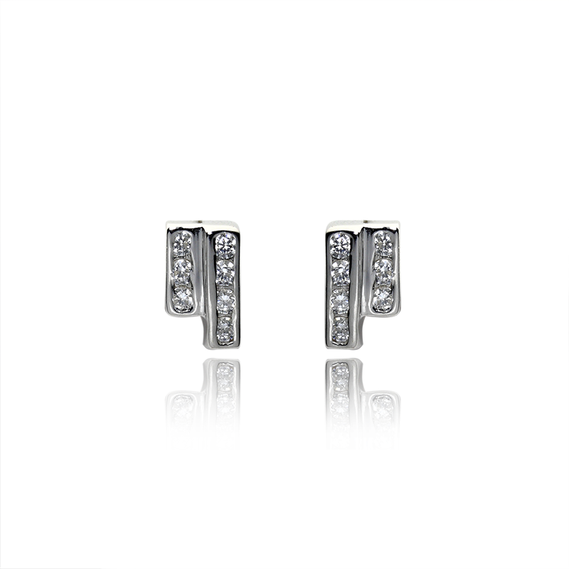 Earringsilver 925/000 rhodium platedCZ fi 2mm - 14x