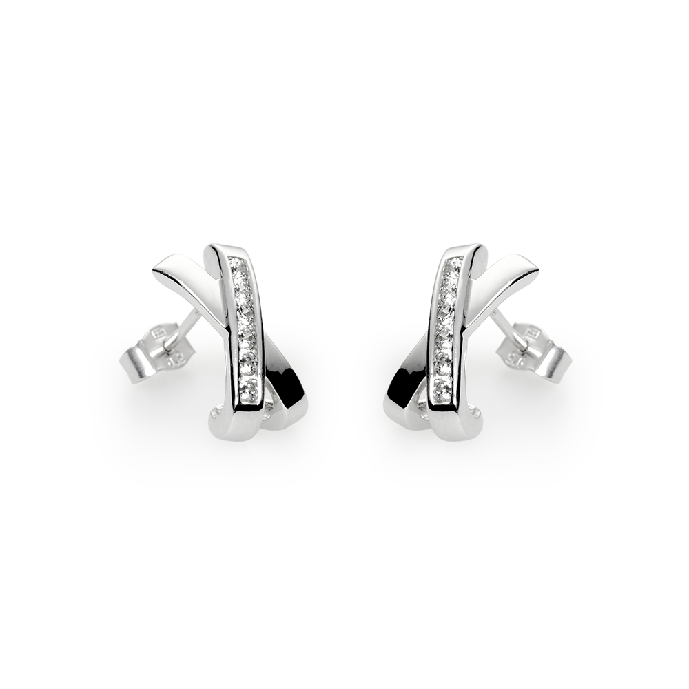 Earringsilver 925/000 rhodium platedCZ fi 2mm - 12x