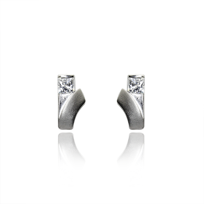 Earringsilver 925/000 rhodium platedCZ 3x3 mm - 2x