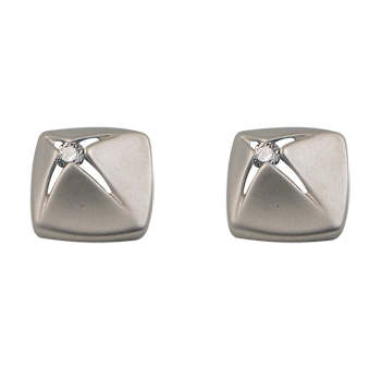 Earringsilver 925/000 rhodium platedCZ white 2,1 mm - 2 x
