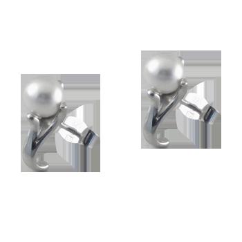 Earringsilver 925/000 rhodium platedpearl glas fi 6 mm - 2 x