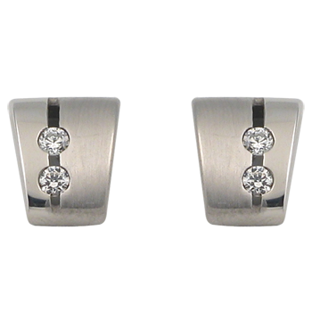 Earringsilver 925/000 rhodium platedCZ white 2,0 mm -4 x