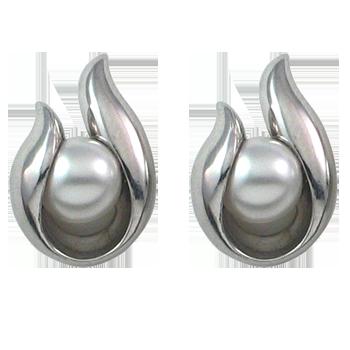 Earringsilver 925/000 rhodium platedwhite crystal pearl fi 6 mm - 2 x