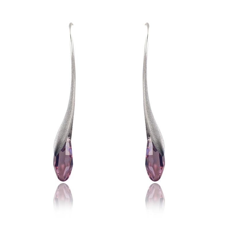 Uhanisrebro 925/000rodiniranoSwarovski kristal fi 18 mm - 2 x