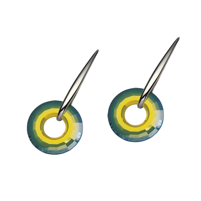 Earringsilver 925/000 rhodium platedSwarovski crystal disk fi 25 mm - 2xgreen