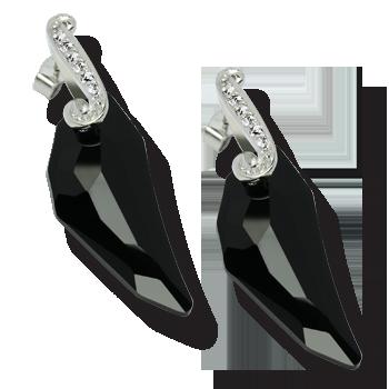 Minđušesrebro 925/000rodiniranoSwarovski kristal crni 30 mm pegasusCZ beli 1,50 - 12x