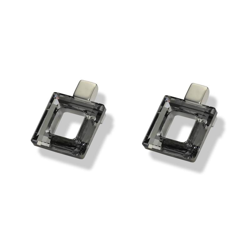 Uhanisrebro 925/000rodiniranokristal Swarovski dorado 14 mm - 2x