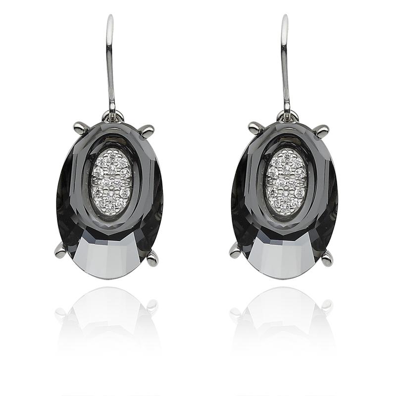 Uhani srebro 925/000 rodinirano Swarovski kristal 20 mm - 2x CZ 1,25 mm - 28x