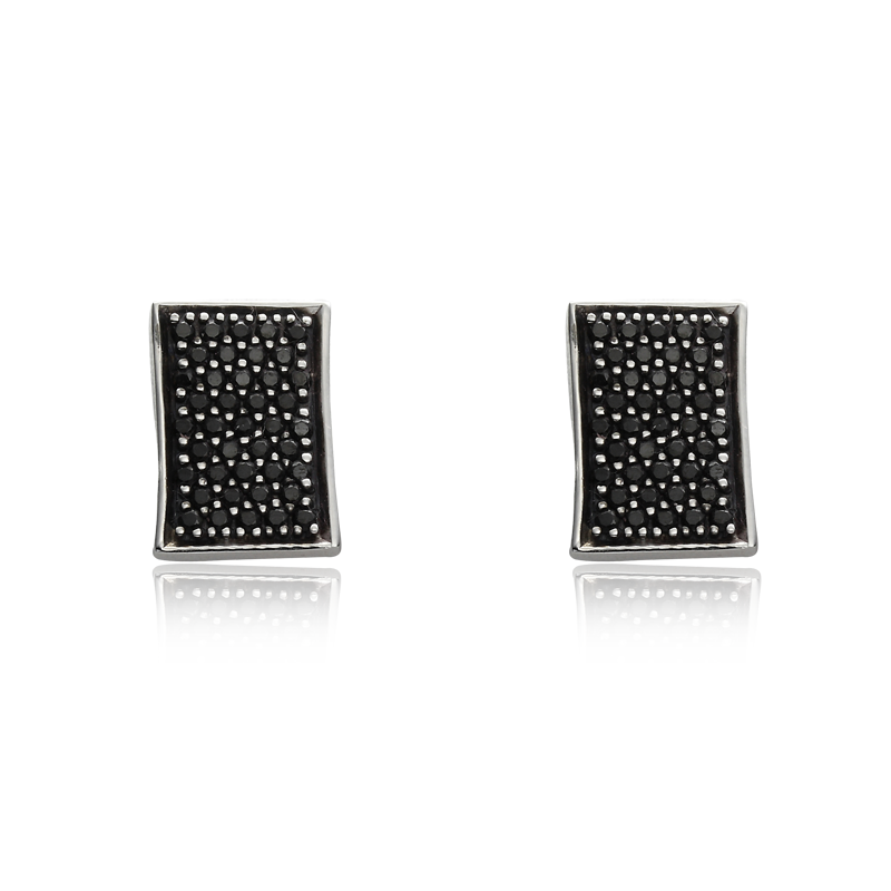 Earringsilver 925/000 rhodium platedblack spinel 1,5 mm - 82x