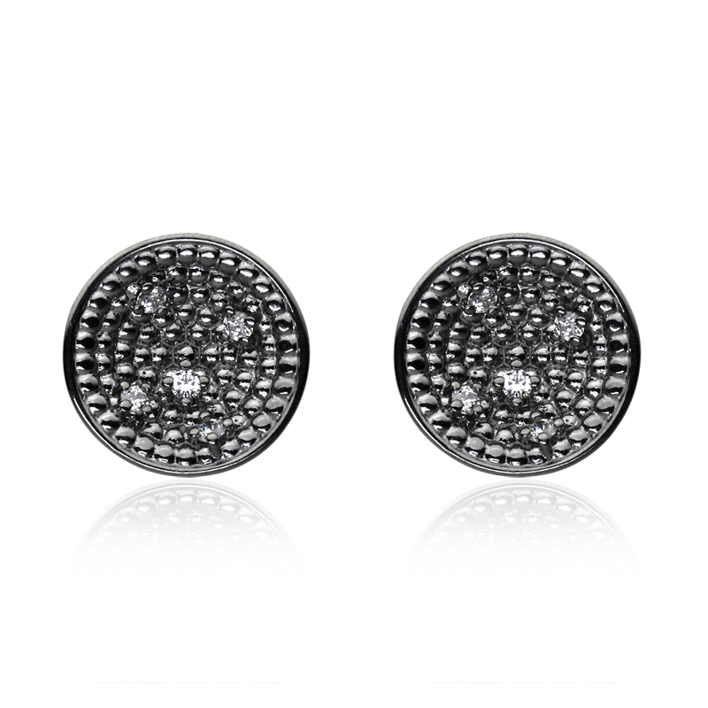 Earringsilver 925/000 rhodium platedCZ 2,00 mm - 10x