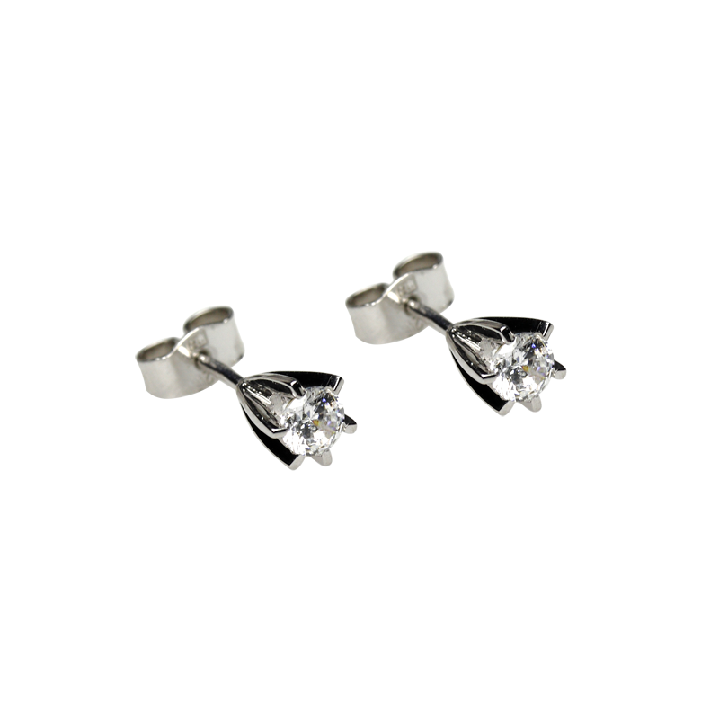 Earringsilver 925/000 rhodium platedCZ fi 4 mm - 2x