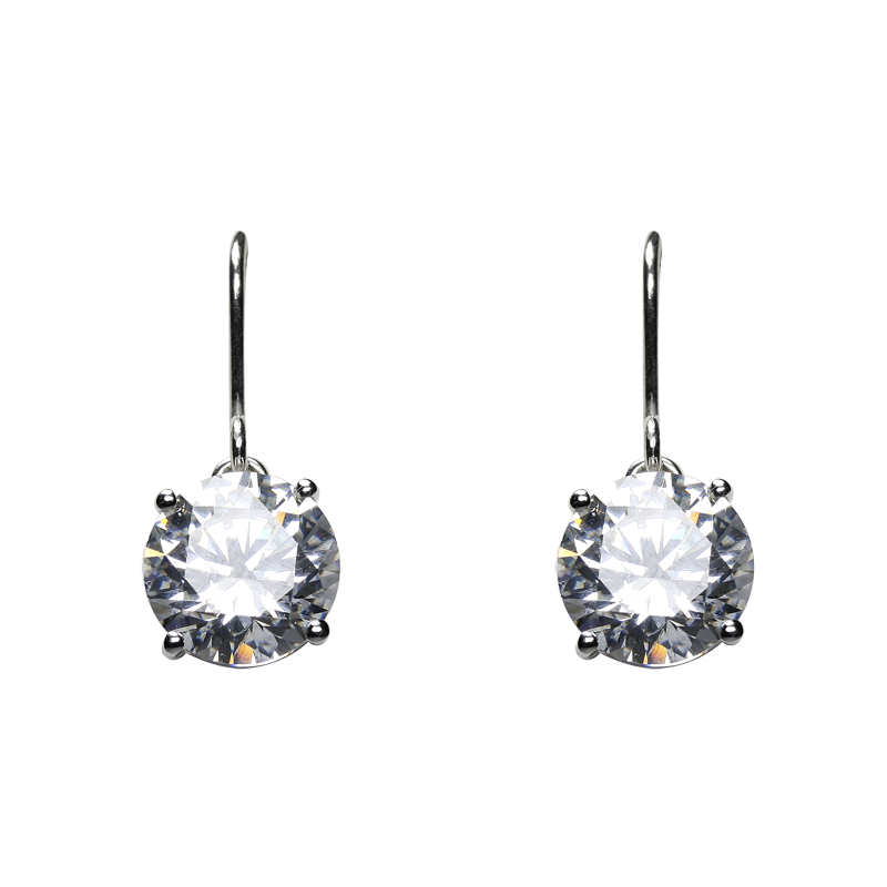 Earringsilver 925/000 rhodium platedCZ fi 10 mm - 2x