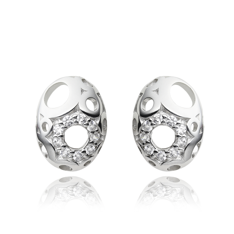 Earringsilver 925/000 rhodium platedCZ fi 1,75 mm - 18x
