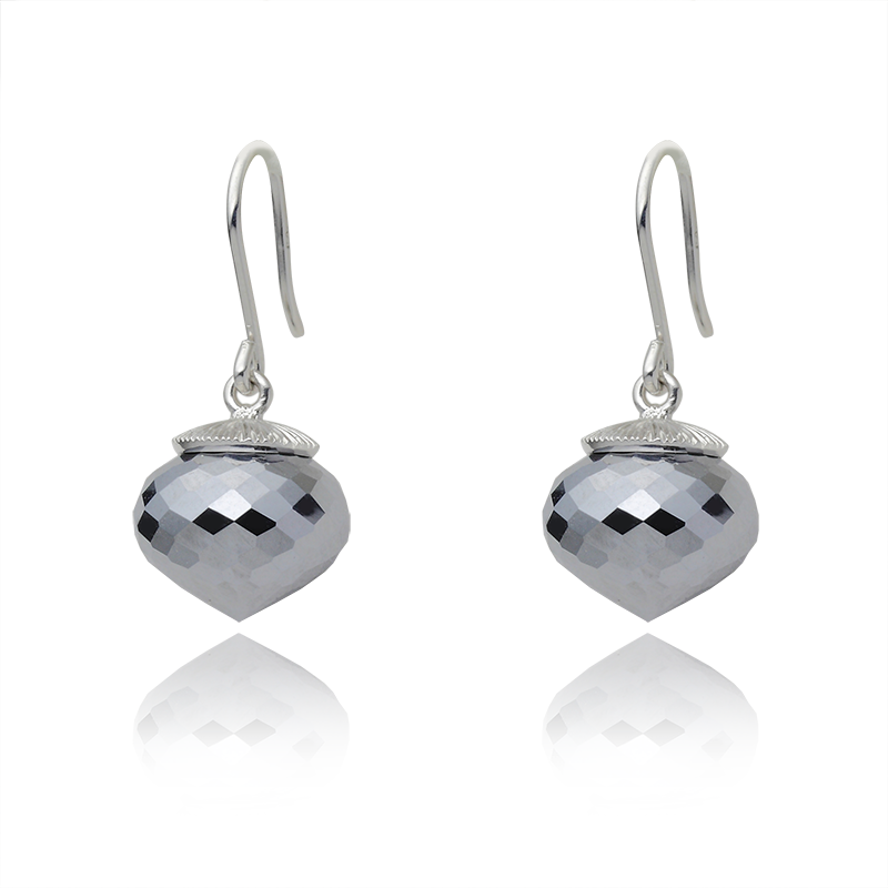 Earringsilver 925/000 rhodium platedhematite 13x11 mm - 2x
