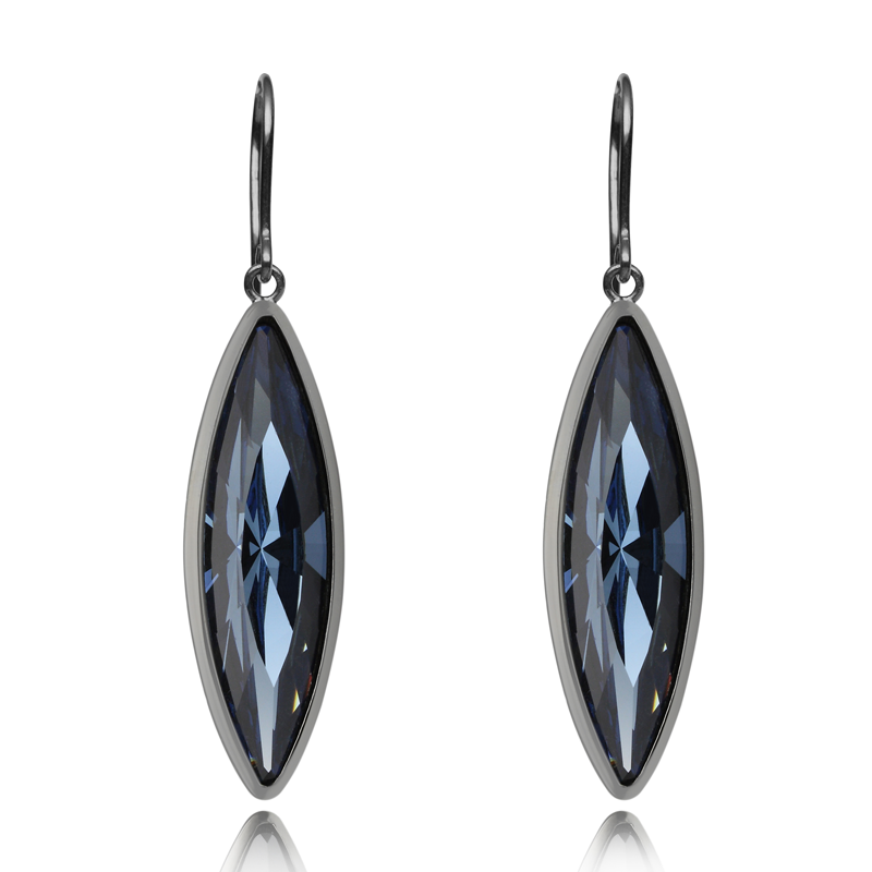 Earringsilver 925/000 rhodium platedblue Swarovski crystal 35x9,5 mm - 2x