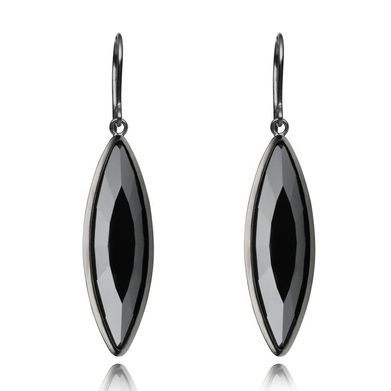 Earringsilver 925/000 rhodium platedblack Swarovski crystal 35x9,5 mm - 2x