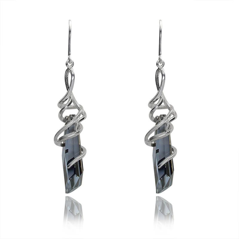 Earringssilver 925/000rhodium platedSwarovski crystal 30 mm-2x