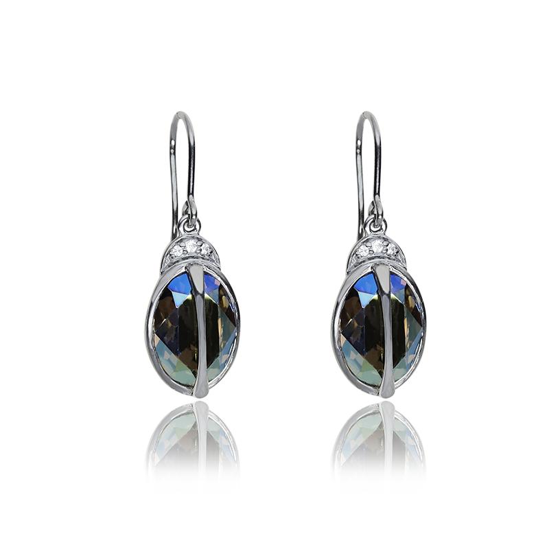 Earringssilver 925/000black rhodium platedSwarovski crystal 14x10 mm - 2x; CZ fi 1,5 mm - 2x; fi 1,25 - 4x