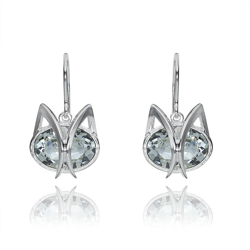 Earringssilver 925/000rhodium platedSwarovski crystal 14x10 - 2x