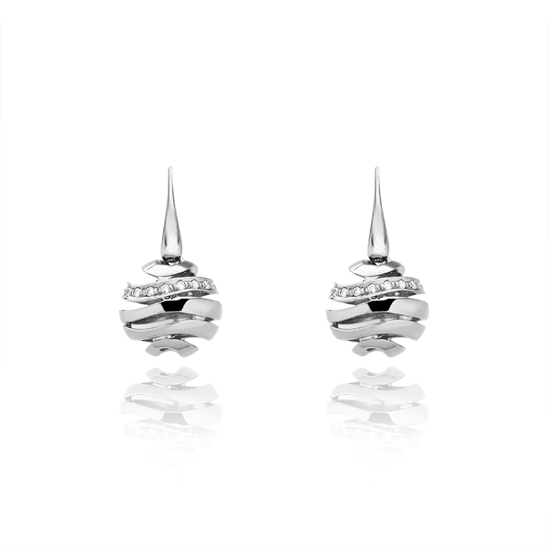 Earringsilver 925/000rhodium platedCZ fi 1,25 - 38 x