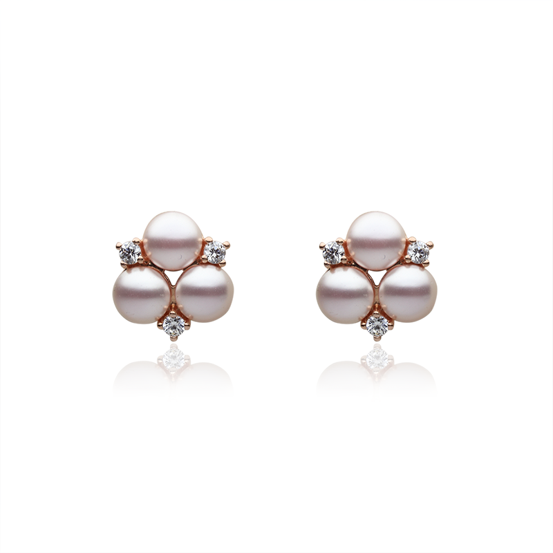 EarringsSilver 925/000Rose rhodium platedGlass pearl, cz