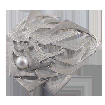 Brošsrebro 925/000rodiniranostakleni biser fi 5,5 -6 mm - 1x