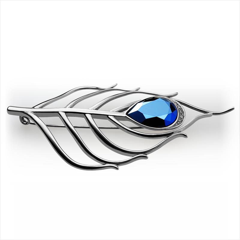 Broška srebro 925/000rjava pozlata CZ rjavi 1,75 mm -1xCZ rjavi 1,5 mm - 2xCZ rjavi 1,25 mm -1xSwarovski kristal 4320 18x13 mm metal modra