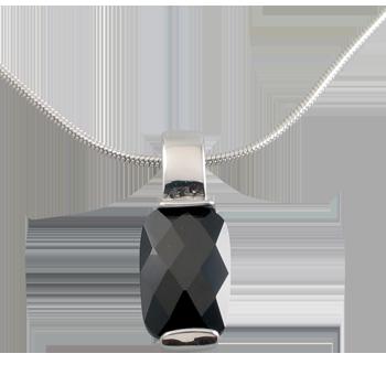 Ovratnicasrebro 925/000rodiniranoCZ črni 11x7 mm - 1 x