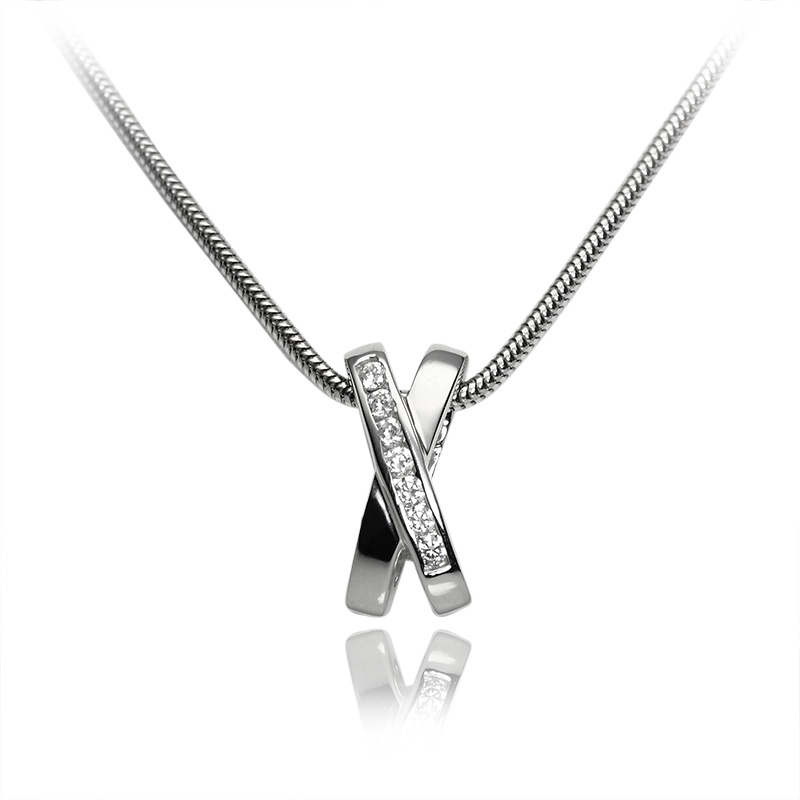 Necklace silver 925/000 rhodium platedCZ fi 2mm -7x