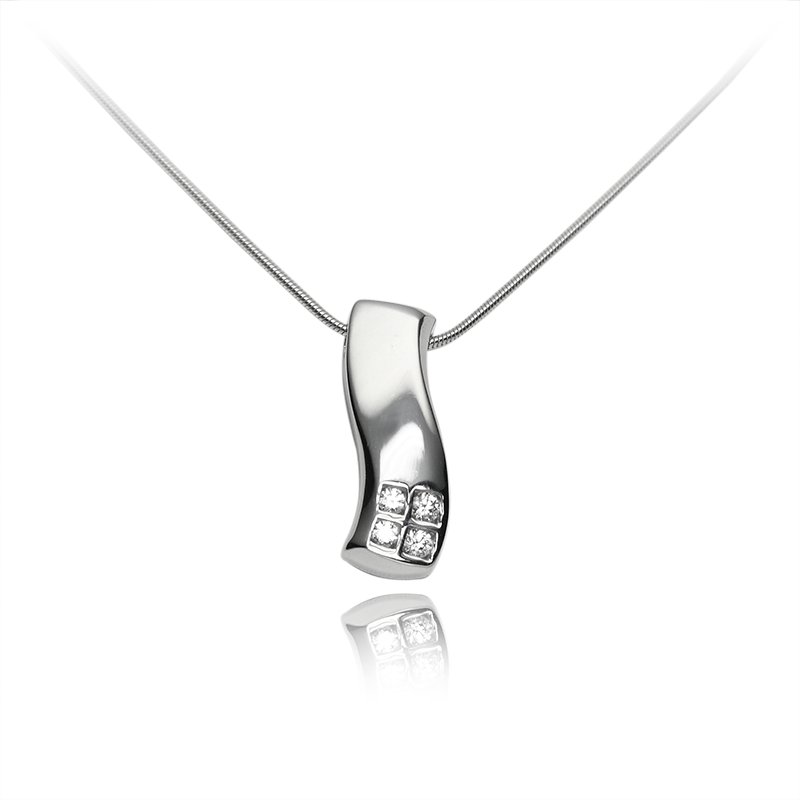 Necklace silver 925/000 rhodium platedCZ fi 2 mm - 2x, CZ fi 2,25 mm - 2x