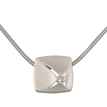 Necklacesilver 925/000 rhodium platedCZ white 3,25 mm - 1 x