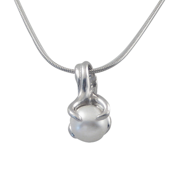 Necklacesilver 925/000 rhodium platedpearl glas fi 8 mm - 1 x