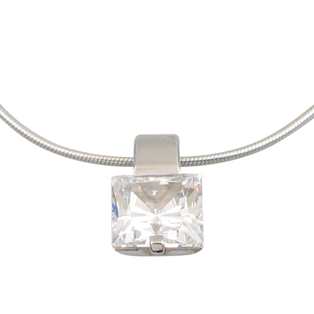 Necklacesilver 925/000 rhodium platedCZ white 8x8 - 1 x