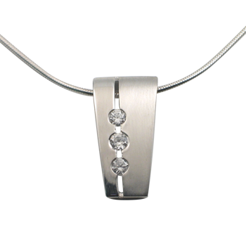 Necklacesilver 925/000 rhodium platedCZ white 2,5 mm -3 x