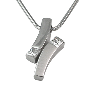 Necklacesilver 925/000 rhodium platedCZ white 4x4 mm - 2x