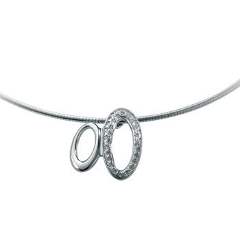 Necklacesilver 925/000 rhodium platedCZ white 1,5 mm - 35 x