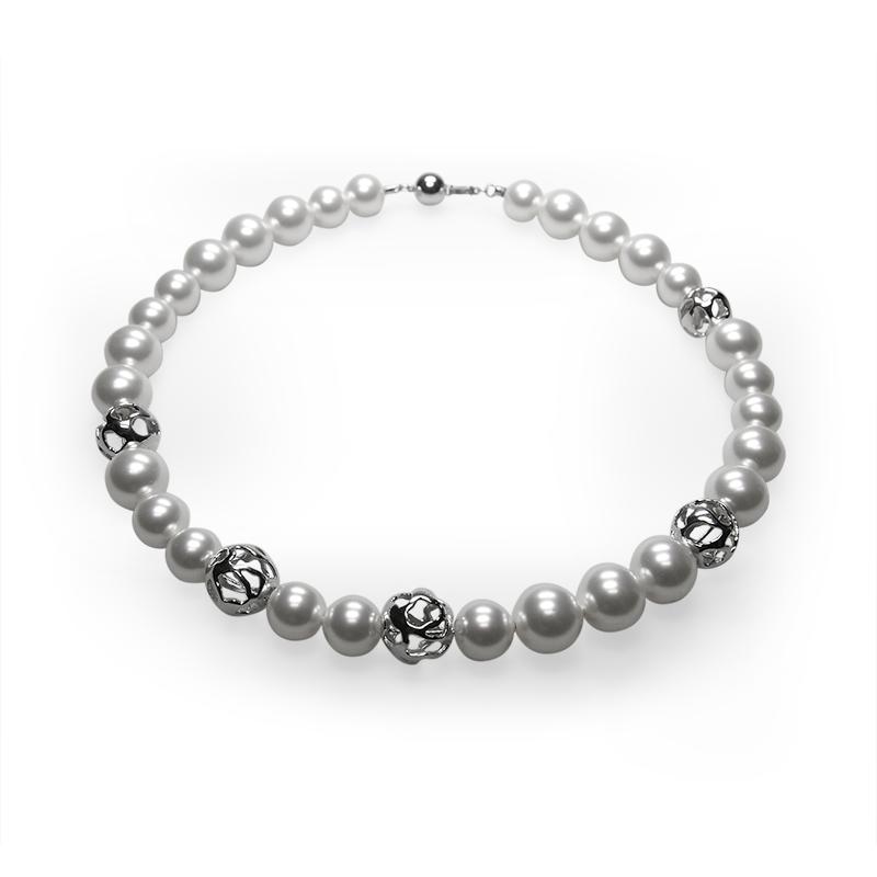 Necklacesilver 925/000 rhodium platedpearl glas grey fi 12 mm - 13 xpearl glas white fi 14 mm - 15 x