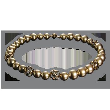 Ogrlicasrebro 925/000pozlaćenostakleni biser zlatni fi 12 mm - 13xstakleni biser zlatni fi 14 mm - 15x