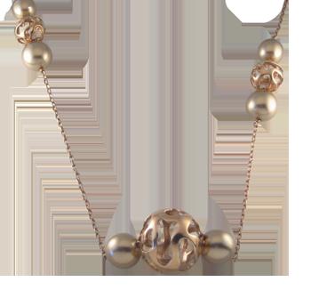 Ogrlicasrebro 925/000pozlaćenostakleni biser zlatni fi 12 mm - 4 xstakleni biser zlatni fi 14 mm - 5 x
