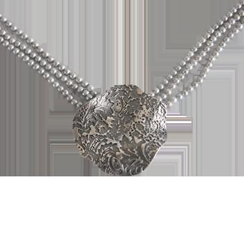 Ovratnicasrebro 925/000črno rodiniranobiser siv 3 mm - 3 x niz