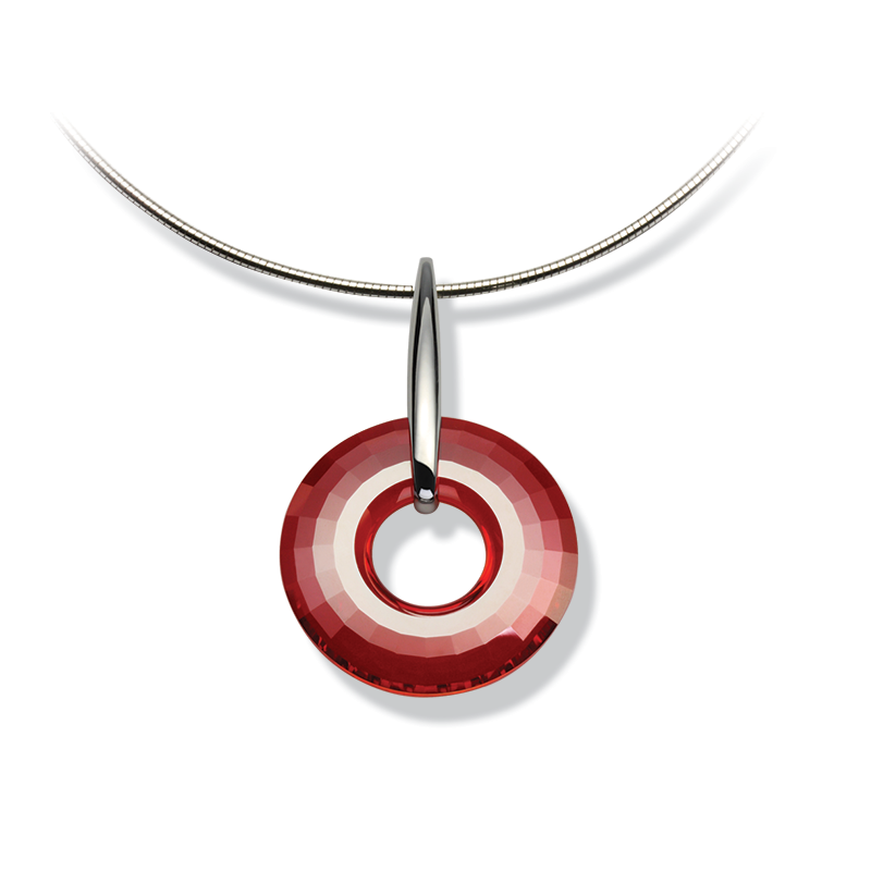 Necklace silver 925/000 rhodium platedSwarovski crystal disk fi 38 mm red magma
