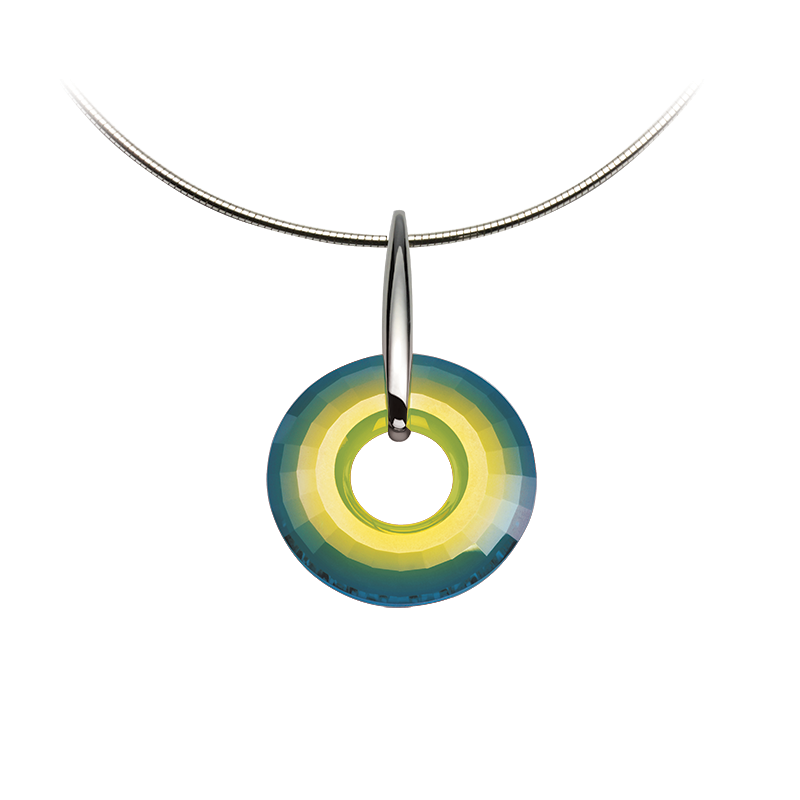 Necklace silver 925/000 rhodium platedSwarovski crystal disk fi 38 mm green