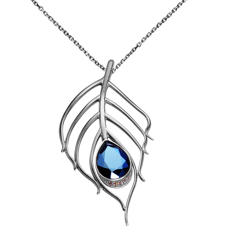 Ovratnica srebro 925/000rodiniranoCZ rjavi 1,75 mm -1x CZ rjavi 1,5 mm - 2xCZ rjavi 1,25 mm -1xSwarovski kristal 4320 18x13 mm metal modra