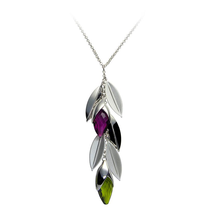 Ogrlica srebro 925/000rodiniranoSwarovski crystal zelen 30x14 mm -1xSwarovski crystal ljubičasta 30x14 mm -1x