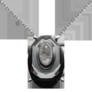 Ogrlica srebro 925/000 rodinirano Swarovski kristal 40 mm - 1x CZ fi 1,25 mm - 22x