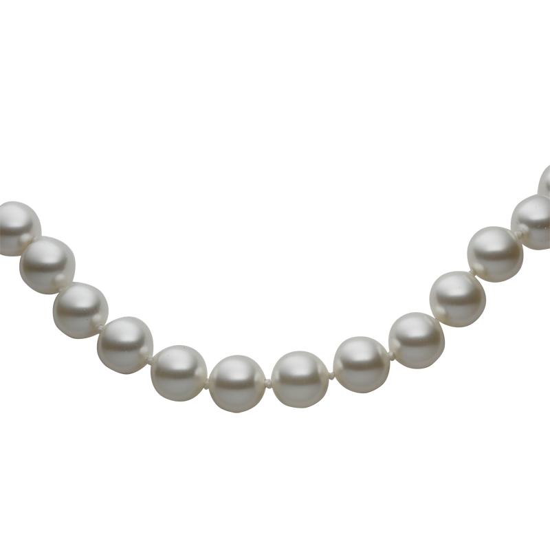 Necklace silver 925/000rhodium platedWhite Swarovski glass pearls fi 8mm