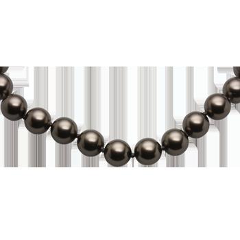 Necklace silver 925/000rhodium platedBrown Swarovski glass pearls fi 8mm